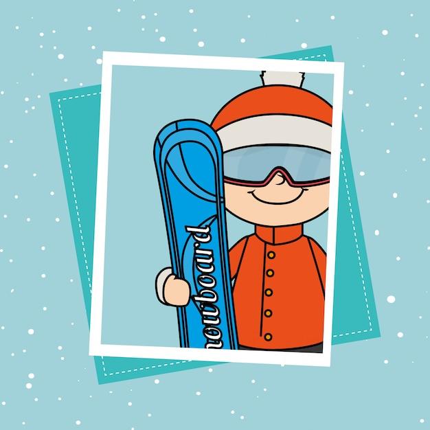 Wintersport en kledingaccessoires Gratis Vector