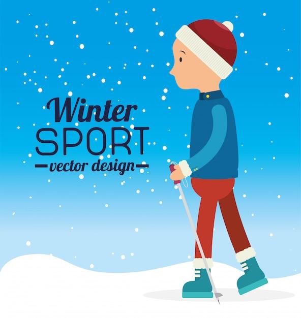 Wintersport en mode dragen Premium Vector