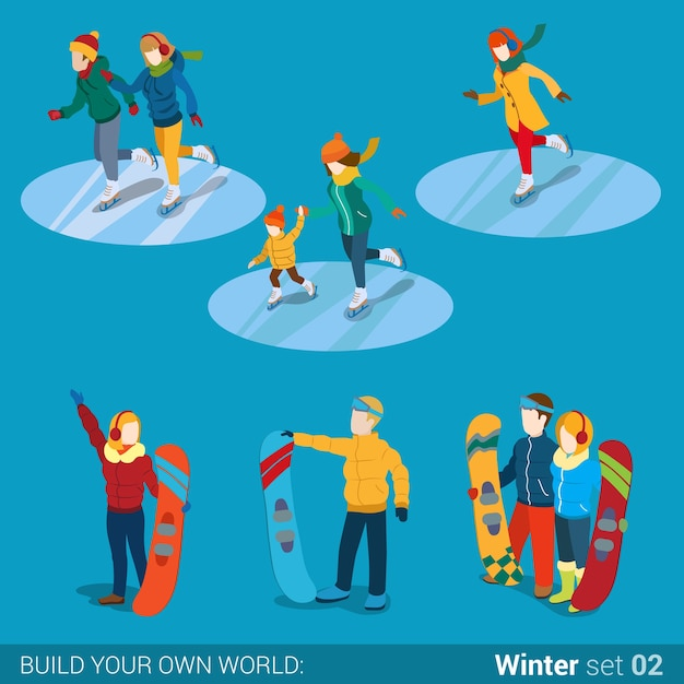 Wintersport jonge gelukkige mensen familie activiteit icon set plat isometrie isometrisch concept web illustratie moeder zoon jongen meisje snowboard snowboarder schaatsers creatieve mensen collectie Gratis Vector