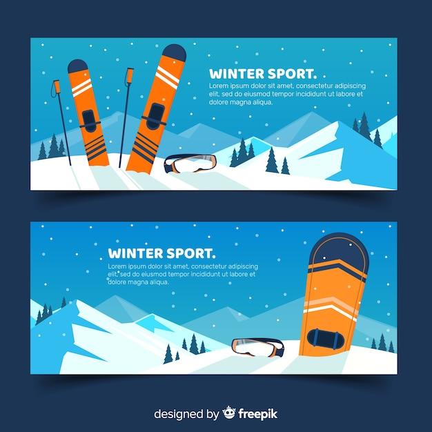 Wintersportbanners Gratis Vector