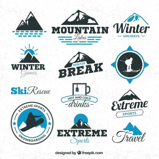 Wintersporten badges Gratis Vector