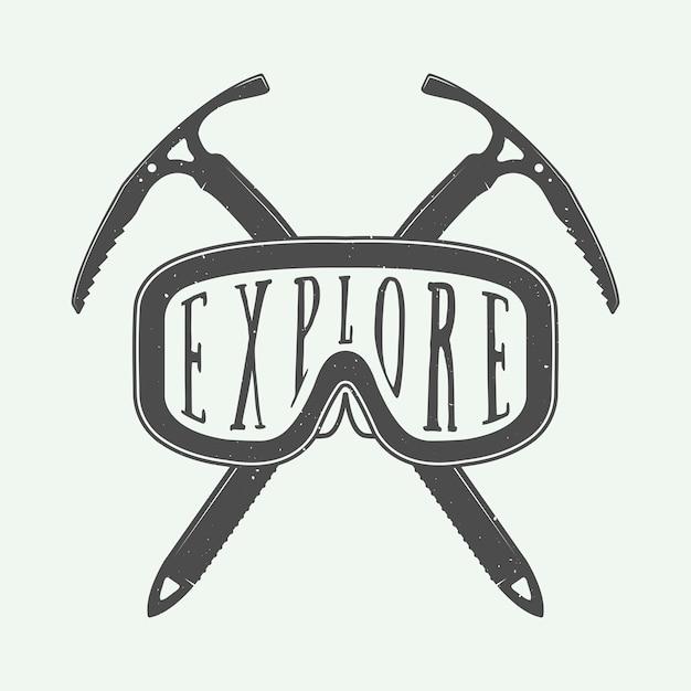 Wintersportlogo, badge Premium Vector