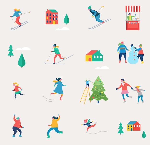 Wintersportscène, kerststraatevenement, festival en kermis, met mensen, gezinnen maken plezier Premium Vector