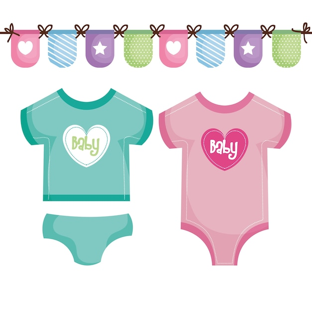 Babykleding Roze.Wintertaling En Roze Babykleding Met Decoratieve Banner Vector