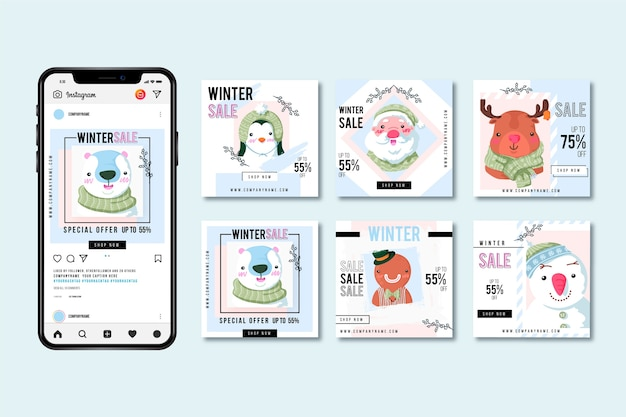 Winteruitverkoop instagram postpakket Premium Vector