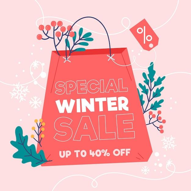 Winteruitverkoop korting met geïllustreerde boodschappentas Gratis Vector