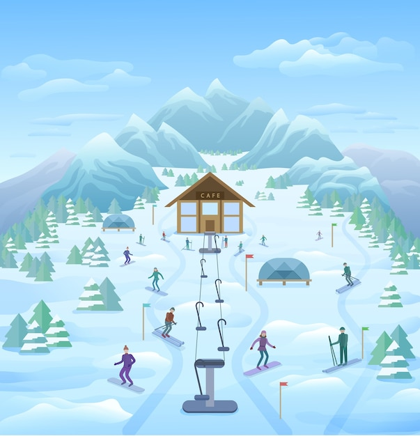 Wintervakantie buiten sjabloon Gratis Vector