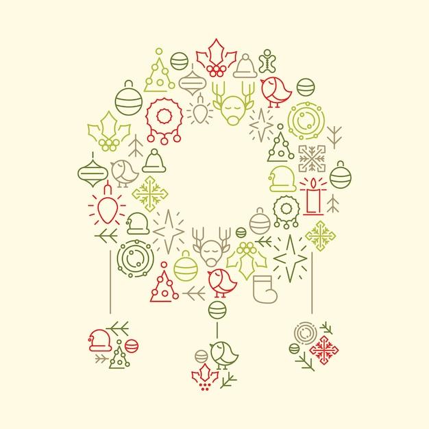 Wintervakantie pictogrammen instellen in vorm van kerst speelgoed op witte doodle illustratie Gratis Vector