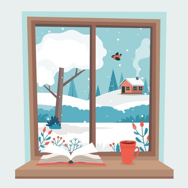 Wintervenster met uitzicht, een boek en een koffiekopje op de vensterbank. Premium Vector
