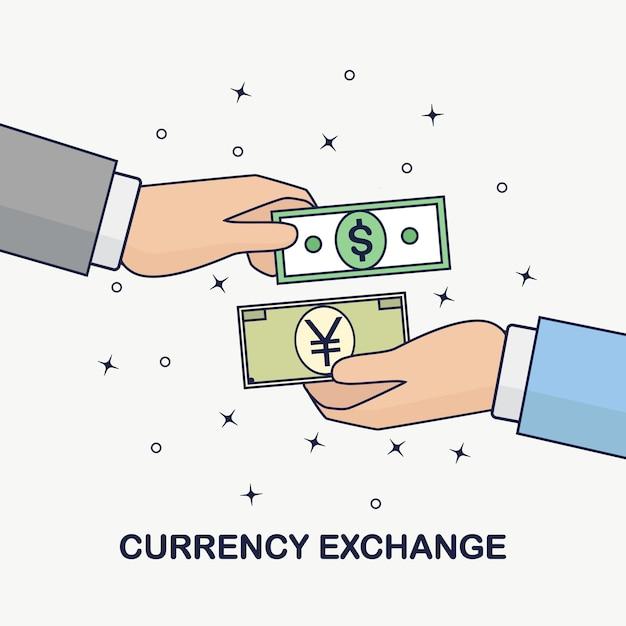 Wisselkantoor. buitenlands geld overmaken. dollar, yen (yuan) symbool. forex, bedrijfsconcept. menselijke hand houdt bankbiljet, contant geld op achtergrond. Premium Vector