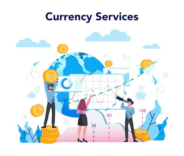 Wisselkantoor dienstverleningsconcept. wereld valuta wisselen Premium Vector