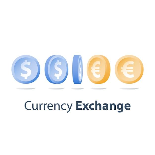 Wisselkantoor, dollar- en euromunten, financieel concept, zijaanzicht, volgorde, pictogram Premium Vector