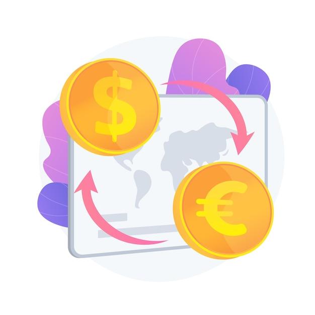 Wisselkantoor. geldoverboeking, dollar in euro veranderen, buitenlands geld kopen en verkopen. gouden munten met valutasymbolen van de eu en de vs. vector geïsoleerde concept metafoor illustratie Gratis Vector