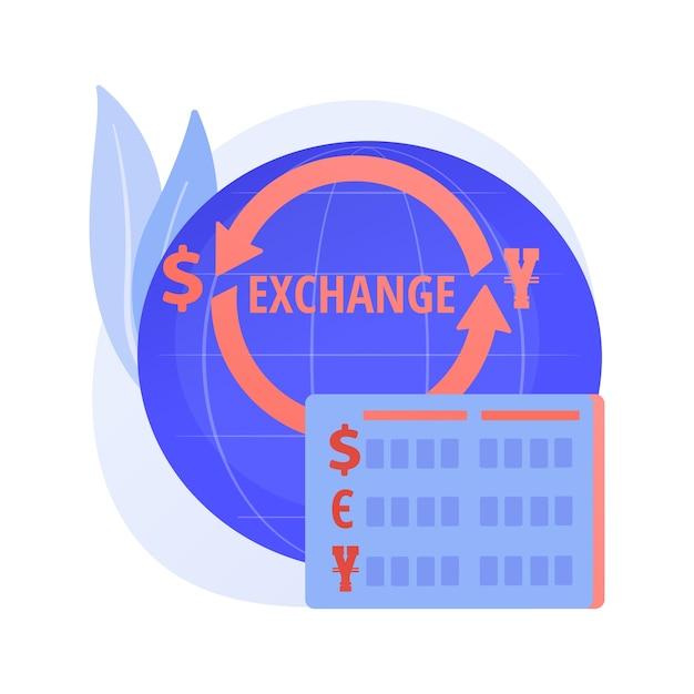 Wisselkantoor. geldoverboeking, dollar in euro veranderen, buitenlands geld kopen en verkopen. gouden munten met valutasymbolen van de eu en de vs. Gratis Vector