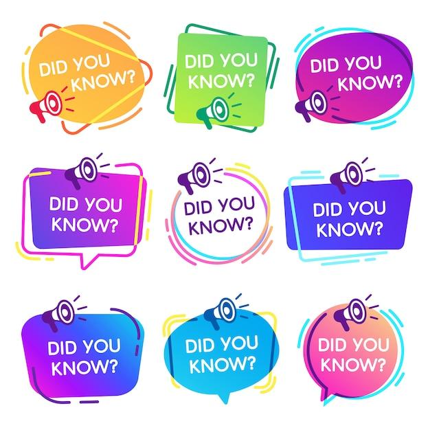 Wist je labels. interessante feiten tekstballonnen, kennisbasis label en sociale media faq banner geïsoleerde badges ingesteld Premium Vector