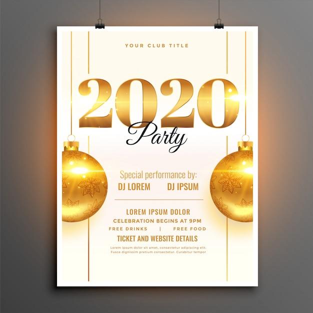 Wit 2020 nieuwjaarsfeest feest sjabloon Gratis Vector