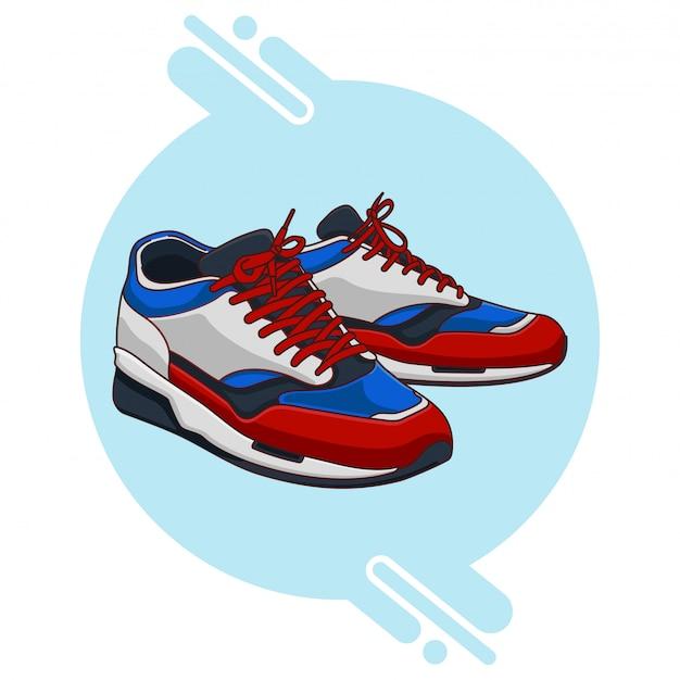 Wit blauw rood zwarte sneakers Premium Vector