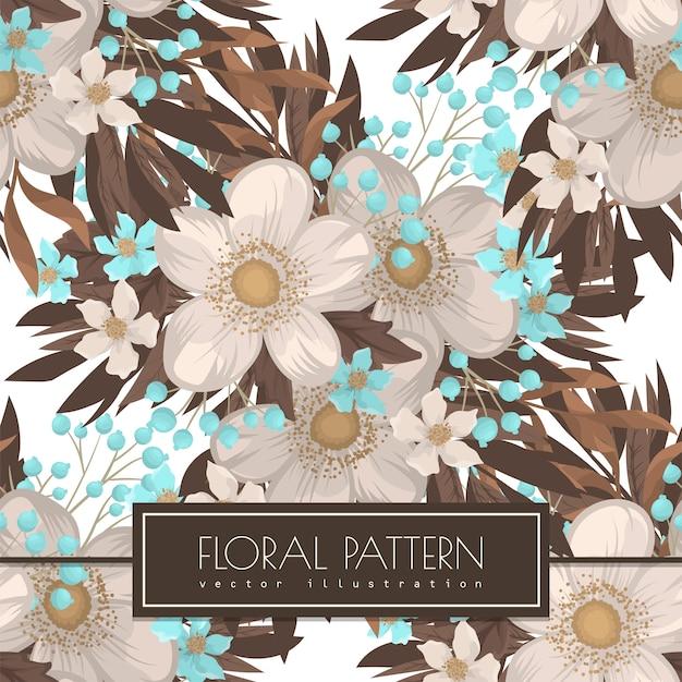 Wit bloem naadloos patroon als achtergrond Gratis Vector