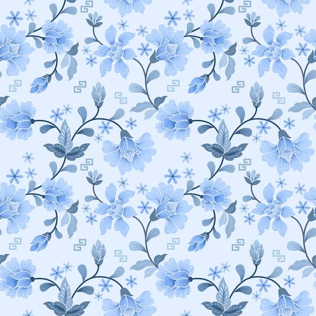 Wit en blauw bloem naadloos patroon Premium Vector
