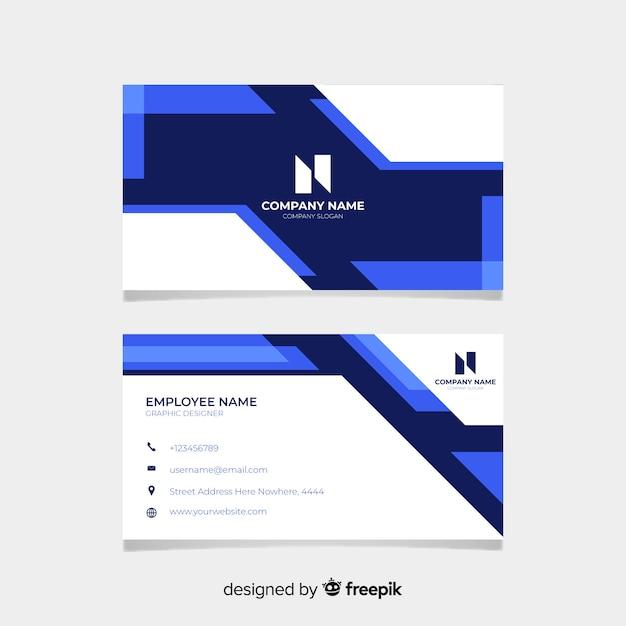 Wit en blauw visitekaartje met logo Gratis Vector