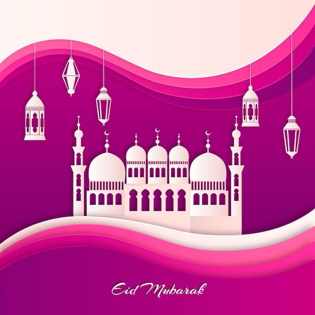 Wit en gradiënt violet papier stijl moskee Gratis Vector