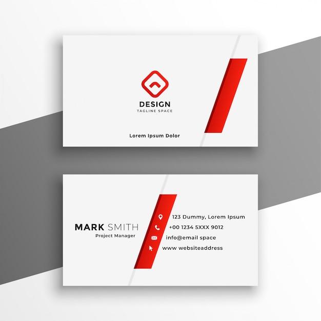 Wit en rood visitekaartje elegant ontwerp Gratis Vector