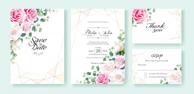 Wit en roze nam de kaart van de het huwelijksuitnodiging van de bloem toe Premium Vector