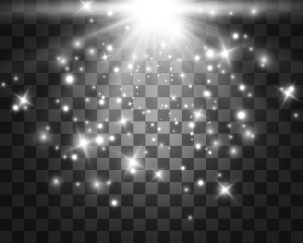 Wit gloeiend licht. mooie ster licht van de stralen. een zon met highlights. een heldere, mooie ster. een zonlicht. Premium Vector