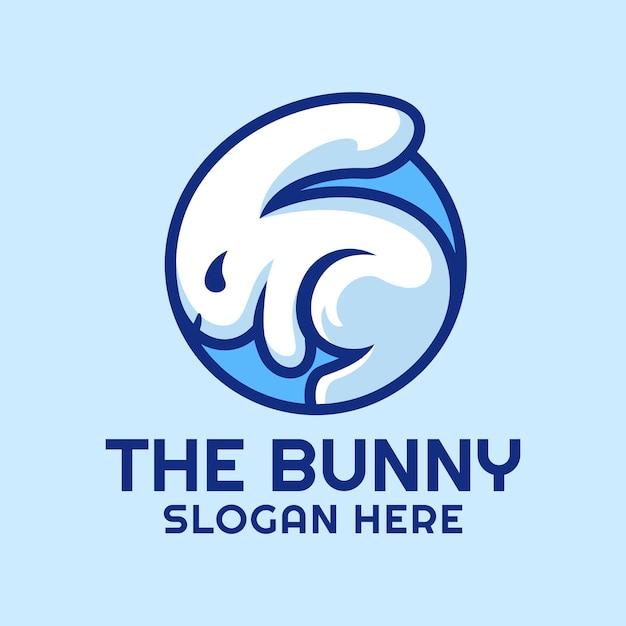 Wit konijn in een cirkel-logo Premium Vector