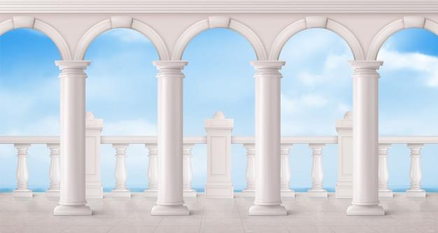 Wit marmeren balustrade en kolommen op balkon Gratis Vector