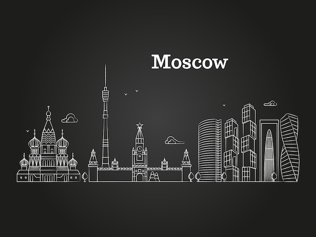 Wit moskou lineair ruslandoriëntatiepunt Premium Vector