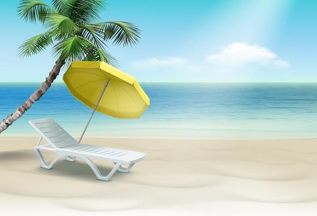 Wit plastic ligbed onder gele parasol met palm. geïsoleerd op landschap achtergrond Premium Vector