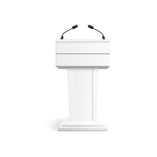 Wit podium met microfoons voor conferentie Premium Vector