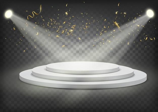 Wit rond winnaarspodium met gouden confettien Premium Vector