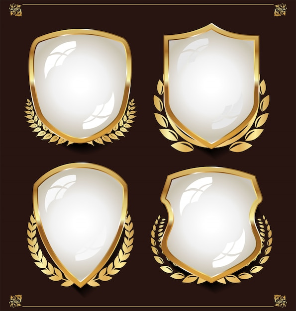 Wit schild met lauwerkransencollectie Premium Vector