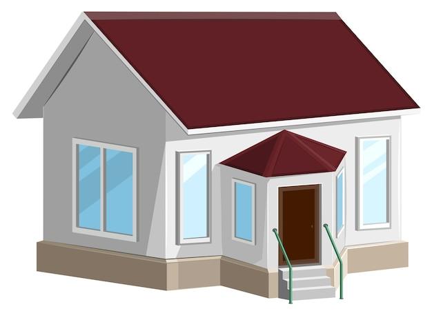 Wit stenen huis met erker. geïsoleerd op wit Premium Vector