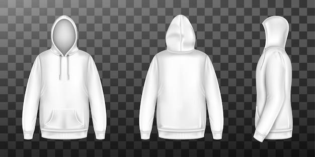 Wit sweatshirt met capuchon, mock up voorkant, achterkant set Gratis Vector