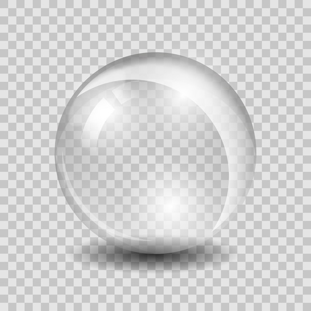 Wit transparant glazen bol glas of bol, glanzend bubbel glanzend Gratis Vector