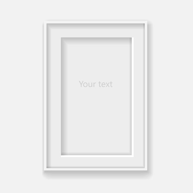 Wit verticaal kader op grijze muur met schaduwen. Premium Vector