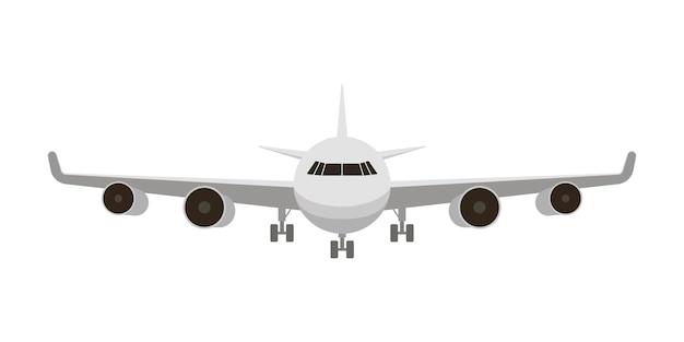 Wit vliegtuig van voren geïsoleerd op wit Premium Vector