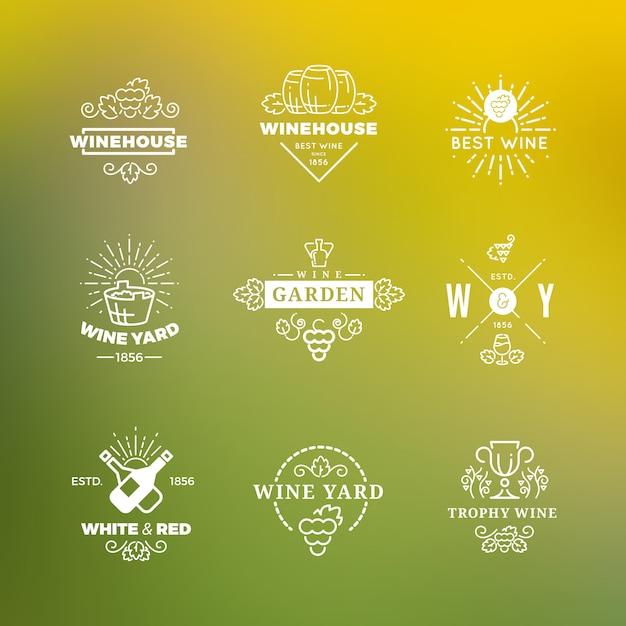 Wit wijnlogo op groen Premium Vector