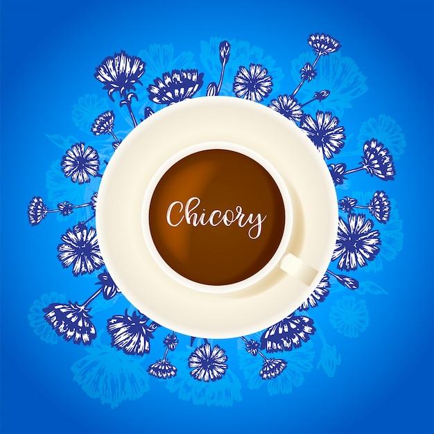 Witlof drankje kopje koffie met witlof hand getrokken bloem rond Premium Vector
