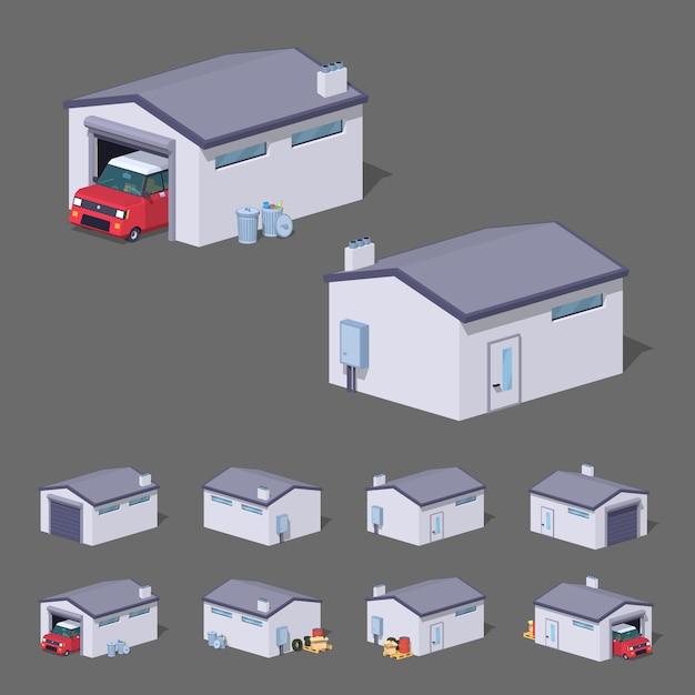 Witte 3d lowpoly isometrische garage Premium Vector