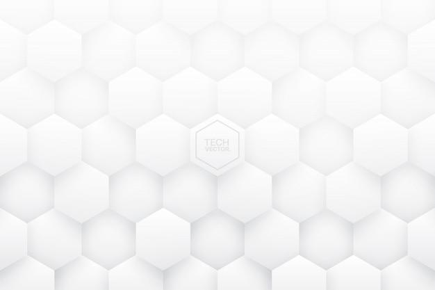 Witte 3d zeshoeken abstracte achtergrond Premium Vector