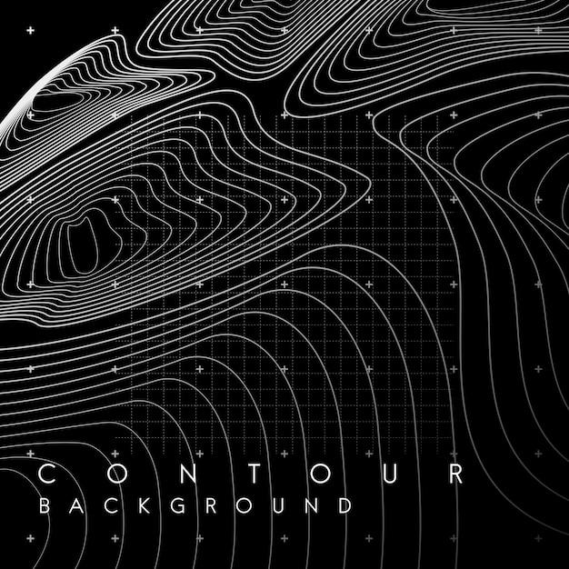 Witte abstracte kaart contourlijnen banner Gratis Vector