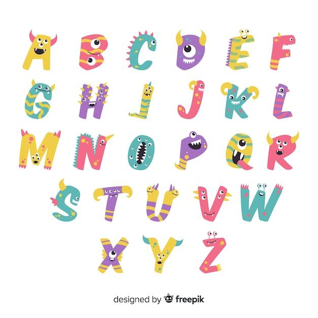 Witte achtergrond met alfabetletters met halloween-monsters Gratis Vector