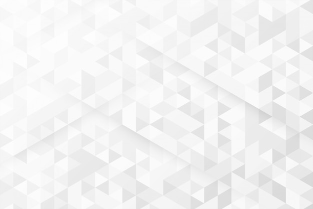 Witte achtergrond met driehoekspatronen Gratis Vector