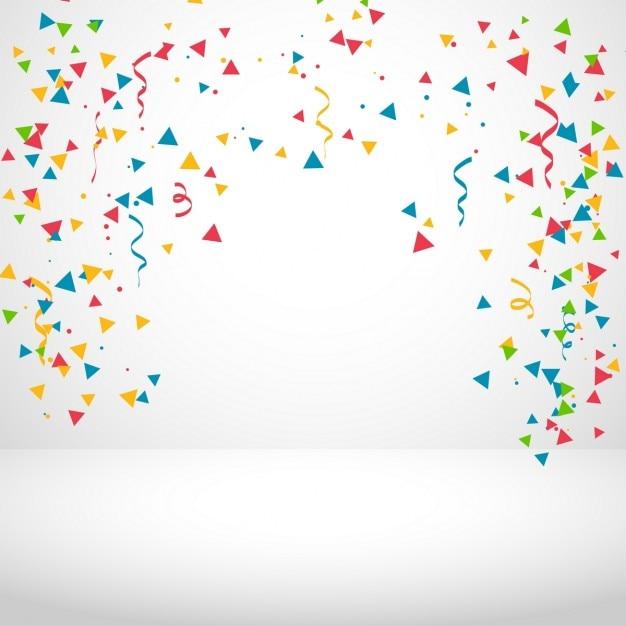 Witte achtergrond met kleurrijke confetti Gratis Vector