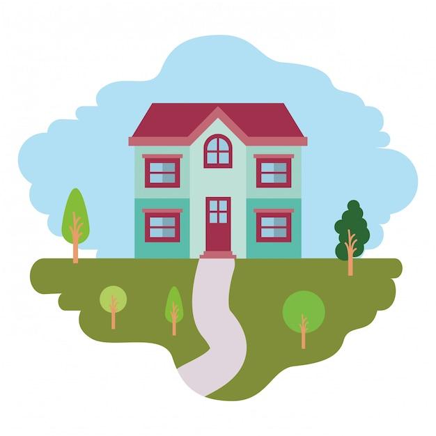Witte achtergrond met kleurrijke scène van natuurlijke landschap en gevel huis van twee verdiepingen Premium Vector