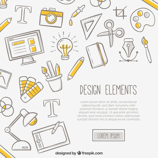Witte achtergrond met ontwerpelementen Gratis Vector